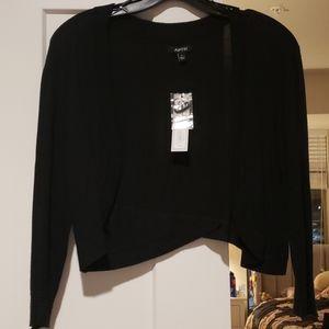NWT Croped Black asymmetrical cardigan